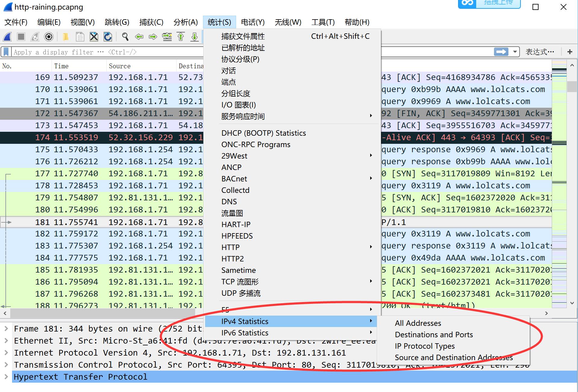 网络分析 NetInside Wireshark 打开IP统计